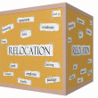 Stock Photo: Relocation 3D cube Corkboard Word Concept