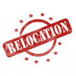 Stock Photo: Red Weathered Relocation Stamp Circle and Stars Design