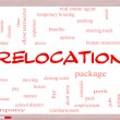Stock Photo: Relocation Word Cloud Concept on Whiteboard