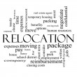 Stock Photo: Relocation Word Cloud Concept in black and white