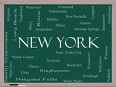 New York State Word Cloud Concept on a Blackboard — Stock Photo