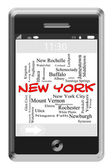 New York Word Cloud Concept on Touchscreen Phone — Stock Photo
