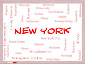 New York State Word Cloud Concept on a Whiteboard — Stock Photo