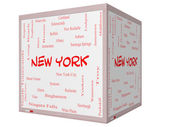 New York State Word Cloud Concept on a 3D cube Whiteboard — ストック写真