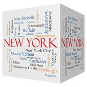 New York State 3D cube Word Cloud Concept — Stock Photo