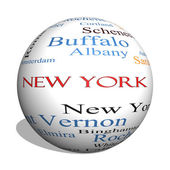 New York State 3D sphere Word Cloud Concept — ストック写真