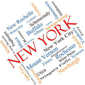 New York State Word Cloud Concept Angled — Stock Photo