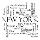 New York State Word Cloud Concept in black and white — Foto de Stock