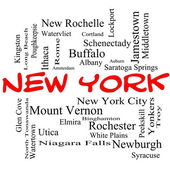 New York State Word Cloud Concept in red caps — Stock Photo