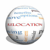Relocation 3D sphere Word Cloud Concept — Stock Photo
