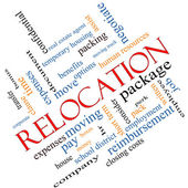 Relocation Word Cloud Concept Angled — Stock Photo