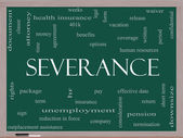 Severance Word Cloud Concept on a Blackboard — Stock Photo