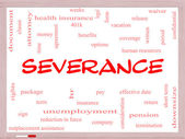 Severance Word Cloud Concept on a Whiteboard — Stock Photo