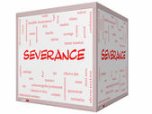 Severance Word Cloud Concept on a 3D cube Whiteboard — Stock Photo