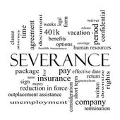 Severance Word Cloud Concept in black and white — Stock Photo