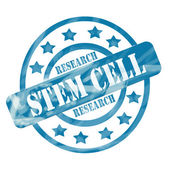 Blue Weathered Stem Cell Research Stamp Circles and Stars — Stock Photo