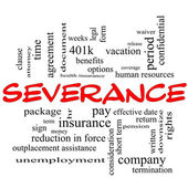 Severance Word Cloud Concept in red caps — Stock Photo
