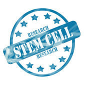 Blue Weathered Stem Cell Research Stamp Circle and Stars — Stock Photo