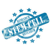 Blue Weathered Stem Cell Research Stamp Circle and Stars Design — Stock Photo