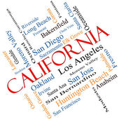 California State Word Cloud Concept Angled — Stock Photo
