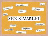 Aktiemarknaden anslagstavlan ordet koncept — Stockfoto