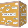 Stock Photo: Commercial Lending 3D cube Corkboard Word Concept