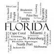 Florida State Word Cloud Concept in black and white — Stock Photo