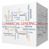 Commercial Lending 3D cube Word Cloud Concept — Stock Photo