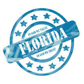 Blue Weathered Florida Stamp Circles and Stars — Stock Photo