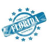 Blue Weathered Florida Stamp Circle and Stars Design — Stock Photo