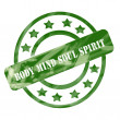 Green Weathered Body Mind Soul Spirit Stamp Circles and Stars — Stock Photo