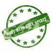 Green Weathered Body Mind Soul Spirit Stamp Circle and Stars — Stock Photo