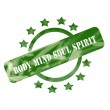 Green Weathered Body Mind Soul Spirit Stamp Circle and Stars design — Stock Photo