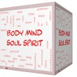 Body Mind Soul Spirit Word Cloud Concept on a 3D cube Whiteboard — Stock Photo