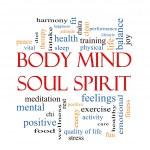 Body Mind Soul Spirit Word Cloud Concept — Stock Photo