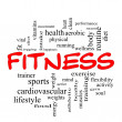 Stok fotoğraf: Fitness Word Cloud Concept in red caps
