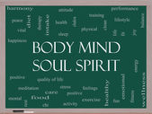 Body Mind Soul Spirit Word Cloud Concept on a Blackboard — Stock Photo