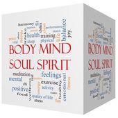 Body Mind Soul Spirit 3D cube Word Cloud Concept — Stock Photo