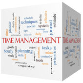 Time Management 3D cube Word Cloud Concept — Stock Photo