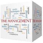 Time Management 3D cube Word Cloud Concept — Стоковое фото