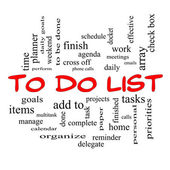 To Do List Word Cloud Concept in red caps — Stock Photo