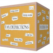 Stock Photo: Tax Deductions 3D cube Corkboard Word Concept