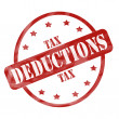 Stock Photo: Red Weathered Tax Deduction Stamp Circle and Stars