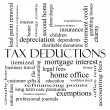 Tax Deductions Word Cloud Concept in black and white — Stock Photo #40743461