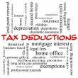 Stock Photo: Tax Deductions Word Cloud Concept in red caps