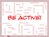 Be Active! Word Cloud Concept on a Whiteboard — Stock Photo