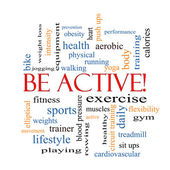 Be Active! Word Cloud Concept — Stock Photo