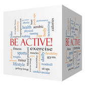 Be Active! 3D cube Word Cloud Concept — Stock Photo