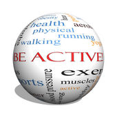 Be Active! 3D sphere Word Cloud Concept — Stock Photo