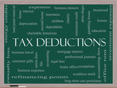 Tax Deductions Word Cloud Concept on a Blackboard — Stock Photo